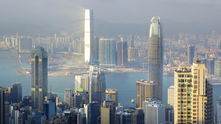 Cityscape of Hong Kong Island across Victoria Harbor photo