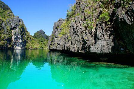 palawan: Pintoresco paisaje del mar El Nido, Palawan Island, Filipinas