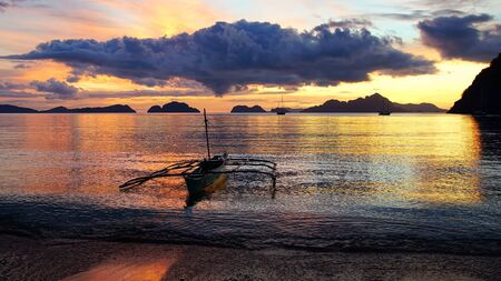 Boat at Corong corong beach. El Nido, Philippines photo
