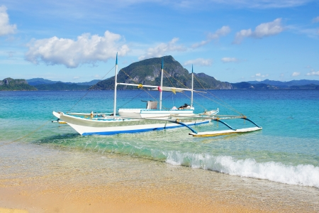 Picturesque seascape with bangka. El Nido, Philippines, photo