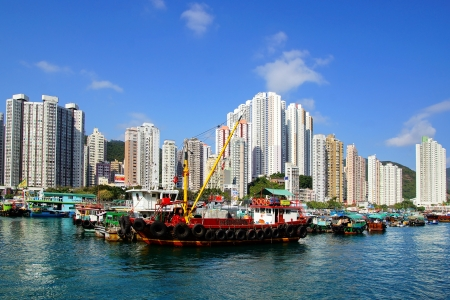 Traditional junks in the Aberdeen Bay.  Hong Kong Stock Photo - 18332057