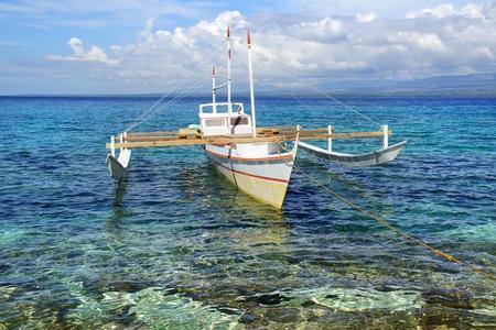 apo: Picturesque seascape with boat  Apo island, Philippines Stock Photo
