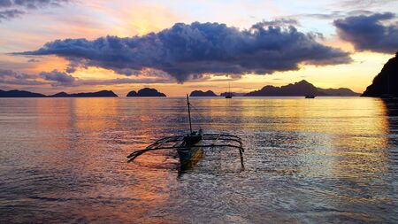 Boat at Corong corong beach. El Nido, Philippines Stock Photo - 18629629