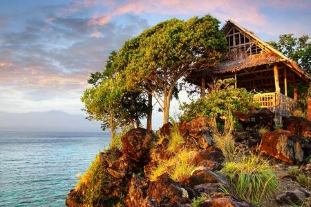 apo: Picturesque landscape with hut. Apo island, Philippines