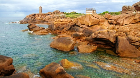 Panoramic view over Pink Granite Coast, France photo