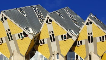 ROTTERDAM, HOLLAND - AUGUST 02 2012: Kubuswoningen, or Cube houses in Rotterdam, Holland. August 02, 2012 Rotterdam, Holland.  innovative houses built in Rotterdam designed by architect Piet Blom and based on the concept of 'living as an urban roof'