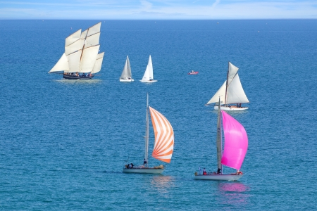 Sailing Regatta in the Cancale Bay. Normandy, France.