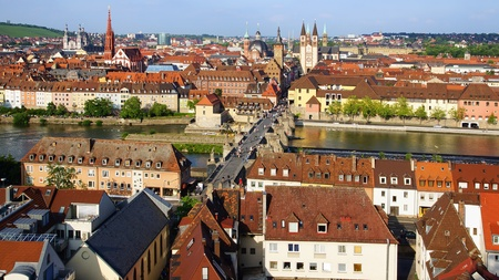 weir: Picturesque landscape with Wurzburg, old town. Germany