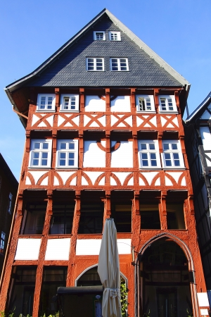 FRITZLAR, GERMANY - SEPTEMBER 30: Fragment of a old fahverk house. The town is dominated by the imposing Romanesque-Gothic cathedral from the 12th-14th centuries. on September 30, 2012 Fritzlar, Germanyny