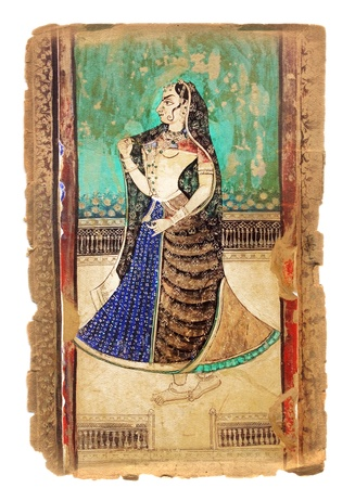 parvati: Serie of illustrations on the old paper with  Indian picture Stock Photo