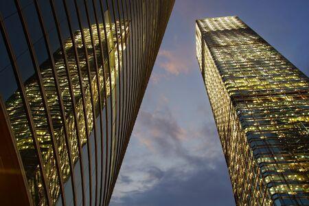 condominium complex: Office buildings at night in Hong Kong