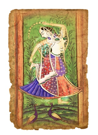parvati: Serie of illustrations on the old paper with  Indian picture Editorial