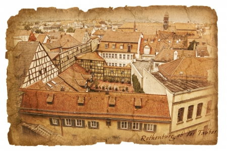 Old paper with ancient picture  Rothenburg ob der Tauber Stock Photo - 19047173