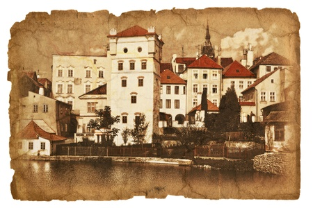 Old paper with ancient picture  Jindrichuv Hradec Stock Photo - 19047171