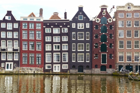 Dutch scenery with canal and canalside houses