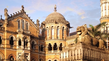 colonial building: Landscape with Victoria Railway station  Mumbai, India Stock Photo