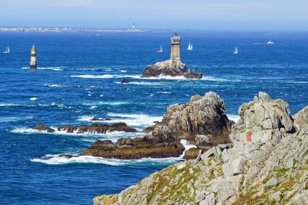 Lighthouse on Cape Sizun, Pointe du Raz  Brittany, France Imagens
