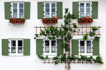 The ancient unique window with fresco  Oberammergau, Germany photo