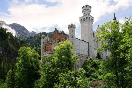 schloss: Picturesque landscape with the Neuschwanstein Castle. Germany Editorial