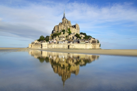 mont saint michel: Landscape with Mont Saint Michel abbey. Normandy, France. Stock Photo