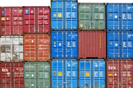 kilometres: LE HAVRE, FRANCE - AUGUST 09: Shipping containers at the docks of the Havre. One of the largest ports of Frances . The port includes 6.5 kilometres of docks; August 09, 2012 in Le Havre, France.