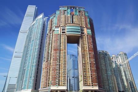 condominium complex: ICC, Harbourside and Arch (Moon Tower) in Hong Kong. China Editorial