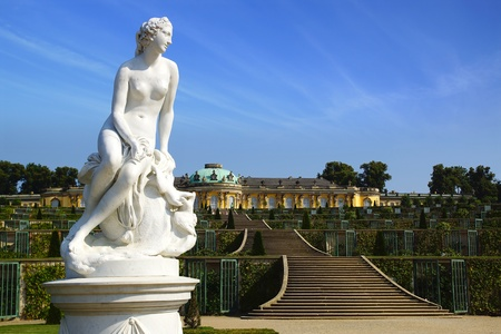 Sanssouci palace and park in Potsdam, Germany.