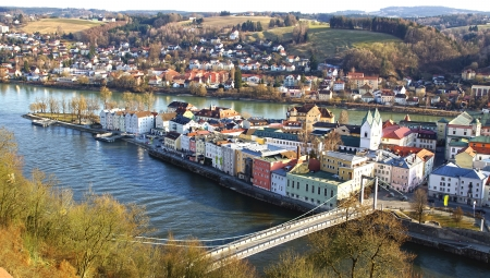 Picturesque panorama of Passau. City of Three Rivers. Germany photo