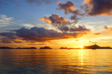 palawan: Corong corong beach during sunset. El Nido, Philippines Stock Photo