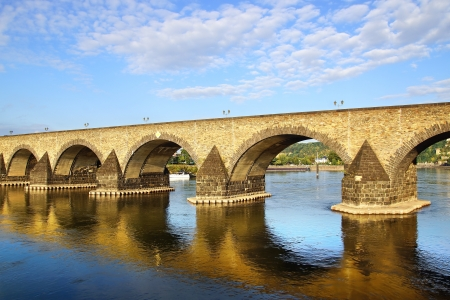 Koblenz, old bridge over the Moselle river. Germany