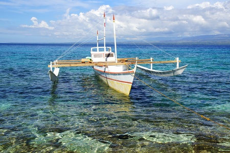 yachting: Picturesque seascape with bangka. Apo Island, Philippines,