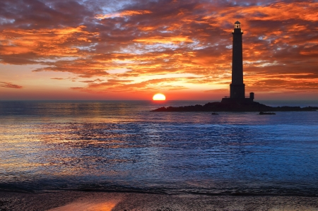 Picturesque nature landscape with Lighthouse. Brittany, France. photo