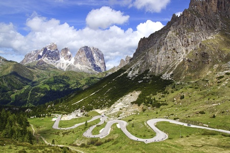 Picturesque Dolomites  landscape with mountain road  Italy photo