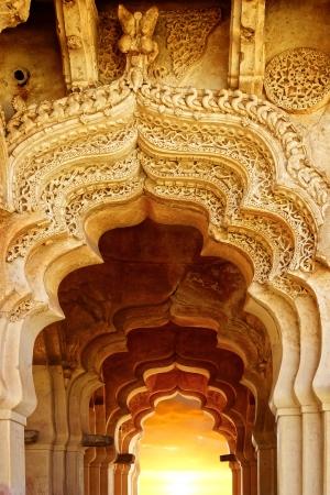 gateway: Picturesque panorama of ruins. Lotus Temple. Hampi, India.