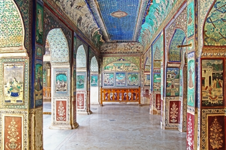 The decoration of the Bundi Palace. India