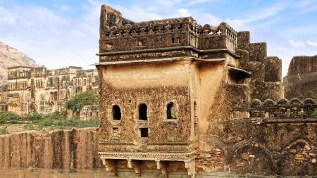 citadel: Picturesque panorama of ancient ruins. Bundi Palace, India Editorial