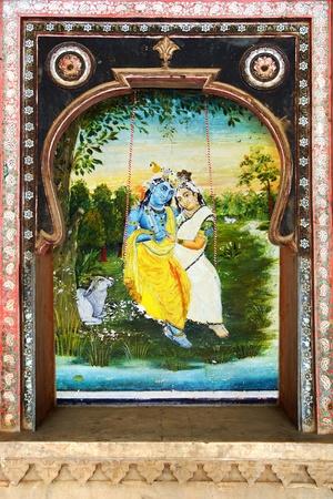 notable: BUNDI, INDIA - JANUARY 21: Details of decoration in the Bundi Palace on January 21, 2012 in Bundi, India. Bundi Palace is notable for its lavish traditional murals and frescoes.
