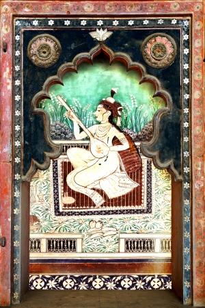 notable: BUNDI, INDIA - JANUARY 21: Details of decoration in the Bundi Palace on January 21, 2012 in Bundi, India. Bundi Palace is notable for its lavish traditional murals and frescoes.  Editorial