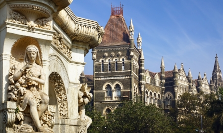 Flora Fountain and Oriental Building in Mumbai, India photo