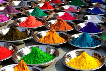 On the photo: Colorful tika powders on Orcha market, India