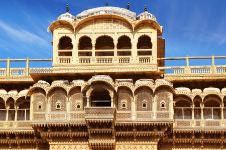 On the photo: Haveli-private mansion in India. Jaisalmer city photo