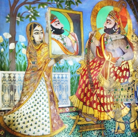 parvati: Fragment of decoration of the Palace. Udaipur, India