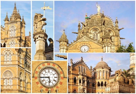 Collage of the details of the Victoria Railway station. Mumbai photo