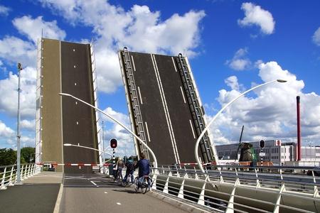drawbridge: Picturesque landscape with drawbridge in Zaandam, Holland. Editorial