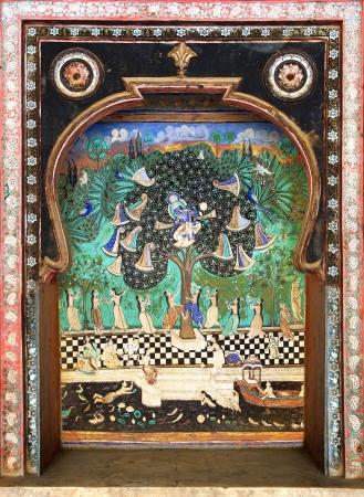 parvati: Fragment of decoration of the Palace. Bundi, India Stock Photo