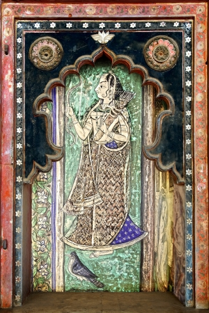 Fragment of decoration of the Palace. Bundi, India photo