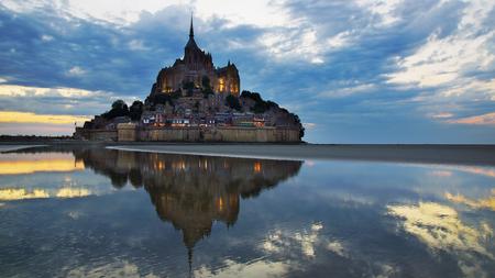 mont saint michel: Landscape with Mont Saint Michel abbey. Normandy, France. Stock Photo