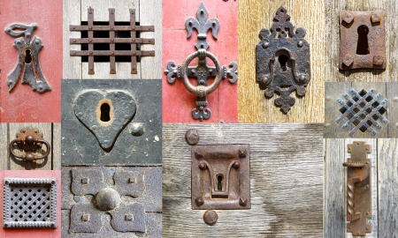 Collage of the fragments old doors. France photo