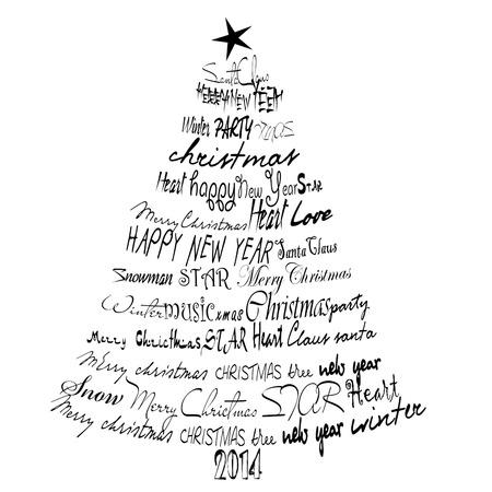 Christmas Card 2014. Abstract Christmas tree. Stock Photo