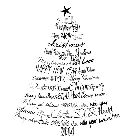 Kerstkaart 2014. Abstracte Kerstboom.
